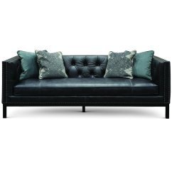 Black Leather Sofa Sure Fit Stretch Suede T Cushion Two Piece Slipcover Mid Century Modern Slate St James Rc Willey Furniture Store