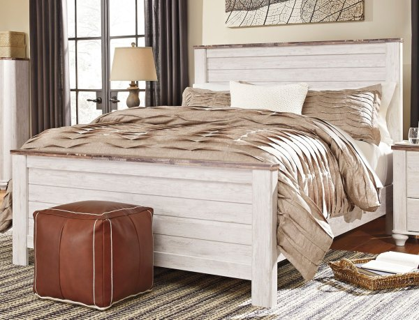 Classic Rustic Whitewashed 6 Piece Queen Bedroom Set