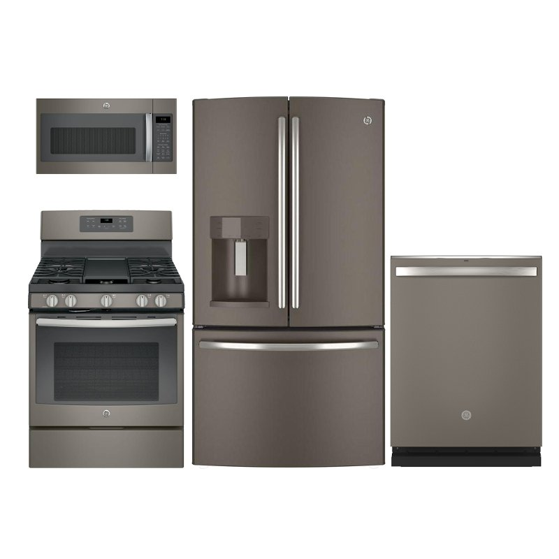 GE 4 Piece Kitchen Appliance Package with 5 cu ft Gas Range  Slate  RC Willey Furniture Store