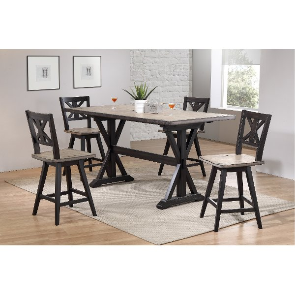 black table and chairs lounge for living room dining sets sale near you rc willey furniture store 2870 sand counter height orlando