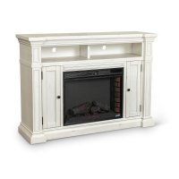 Distressed White 60 Inch Fireplace TV Stand - New Castle ...