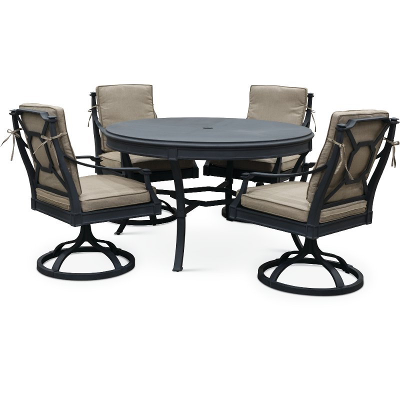 table with swivel chairs lifeguard for sale 5 piece outdoor patio dining set antioch rc willey furniture store