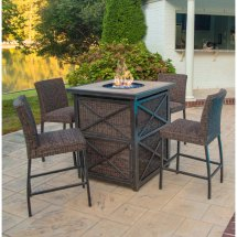 5 Piece Fire Pit Bar Height Patio Set - Franklin Rc