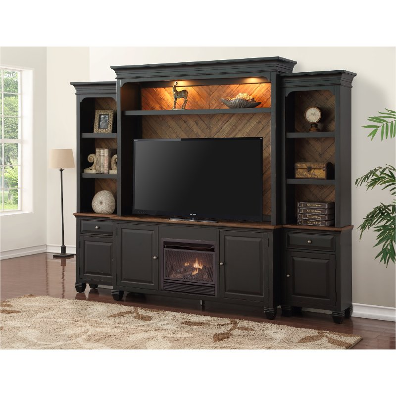 Antique Black 4 Piece Fireplace Entertainment Center  Brighton Hickory  RC Willey Furniture Store
