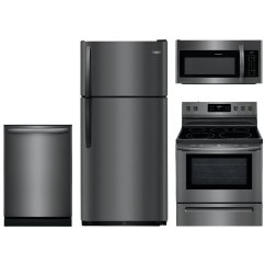 4 Piece Stainless Steel Kitchen Package Hanging Rack Frigidaire Appliance With Electric Range Black Rc Willey Furniture Store