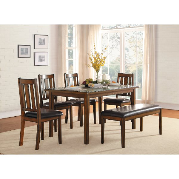 kitchen table with bench and chairs faucet moen chair dining sets rc willey furniture store dark cherry 6 piece set del mar