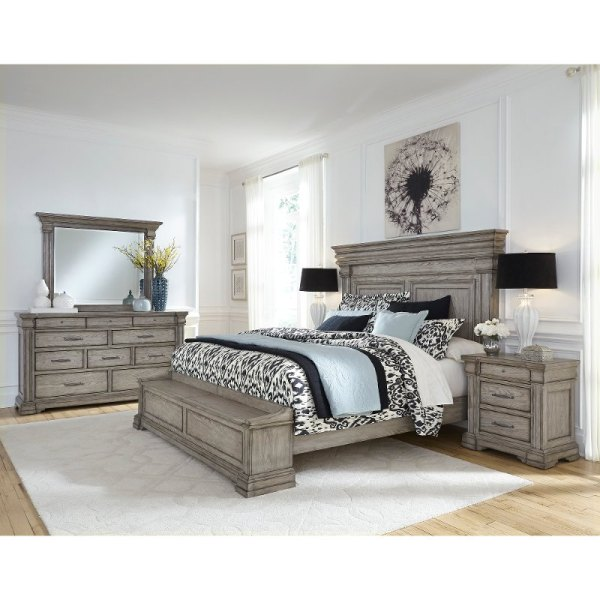 Classic Traditional Gray 4 Piece King Bedroom Set - Madison Ridge Rc Willey Furniture Store