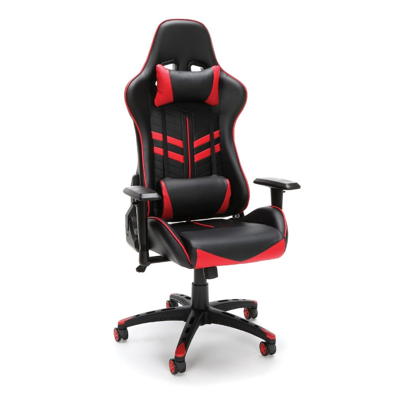 office chair red high backed racing style and black gaming essentials rc willey
