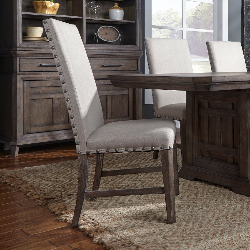 gray upholstered dining chairs rocking chair big lots artisan prairie rc willey furniture store