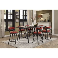 Red Counter Height Dining Chairs Japanese Floor Chair Retro 5 Piece Set Appert Rc Willey Furniture Store