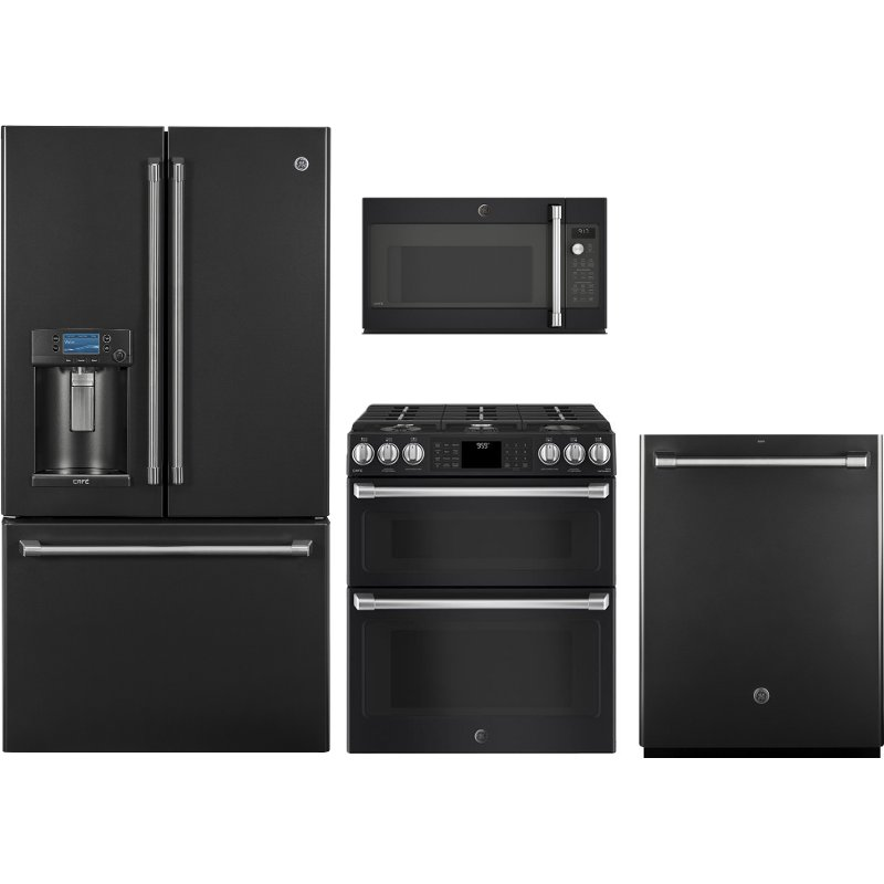 GE Cafe 4 Piece Kitchen Appliance Package With Gas Range Black Slate RC Willey Furniture Store