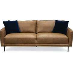 Modern Brown Leather Sofa Circular Chair Mid Century Camel Marseille Rc Willey Furniture Store