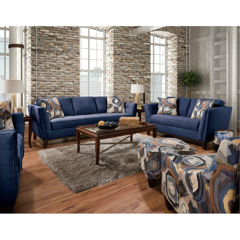 modern living room sets picture of rooms decorated mid century blue 2 piece set patchquilt rc willey furniture store