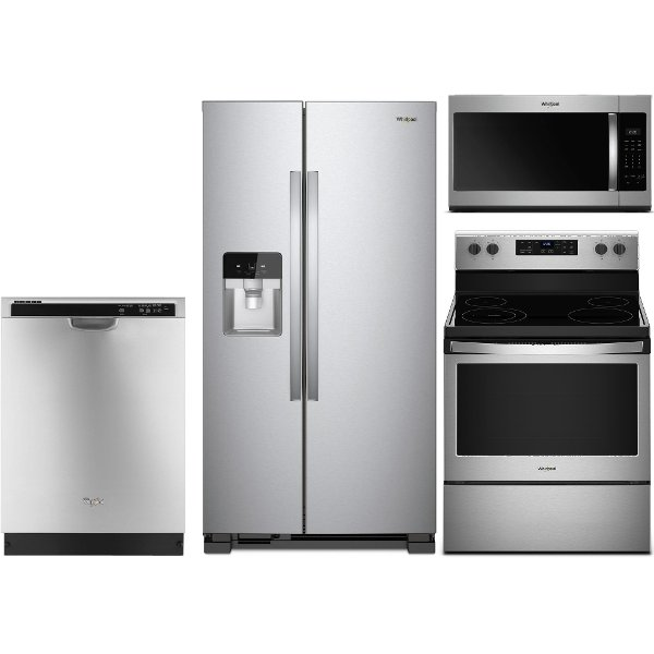 kitchen appliance suites sink with drainboard packages rc willey furniture store kit whirlpool 4 piece package electric range stainless steel