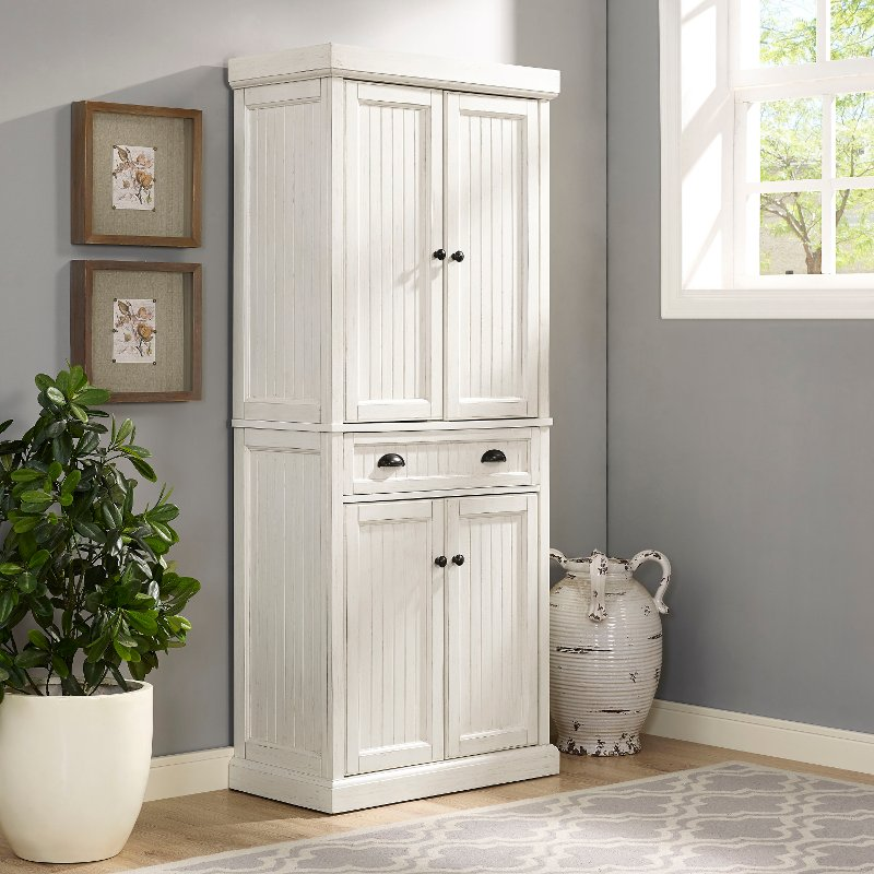 furniture kitchen pantry island ideas distressed white cabinet seaside rc willey cf3103 wh