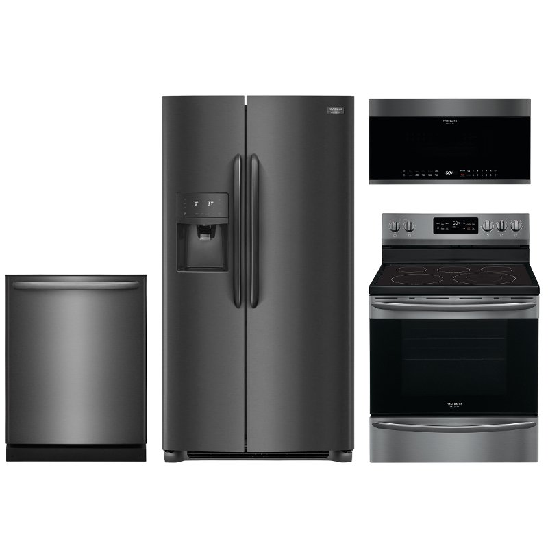 Frigidaire Gallery 4 Piece Kitchen Appliance Package With Electric Range Black Stainless Steel