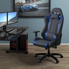 Desk Chair High Steel In Jaipur Back Ergonomic Gray And Blue Gaming Workspace Rc