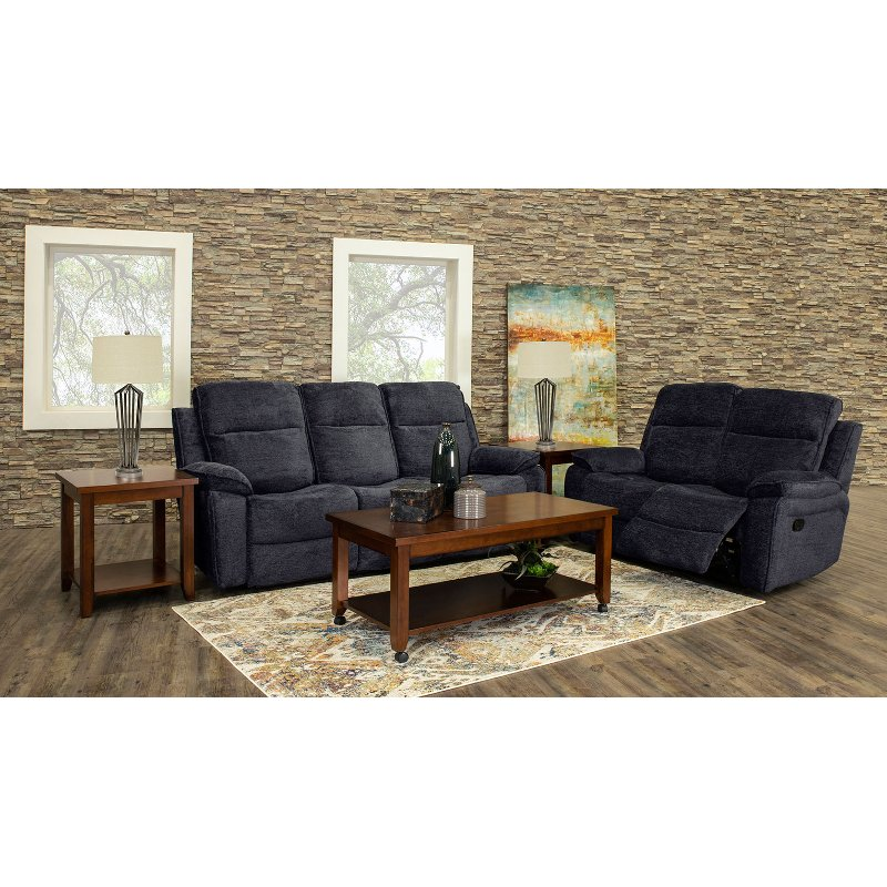 recliner living room set package deals navy blue 7 piece reclining castaway rc willey furniture store