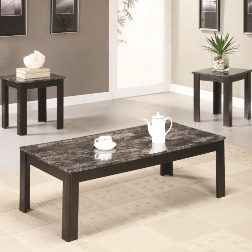 Black Marble Casual 3 Piece Living Room Table Set Rc Willey Furniture Store