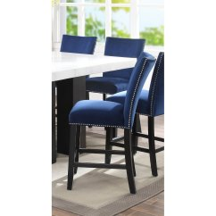 Upholstered Counter Chairs Wood Outdoor Chair Blue Velvet Height Stool Camila Rc Willey Furniture Store
