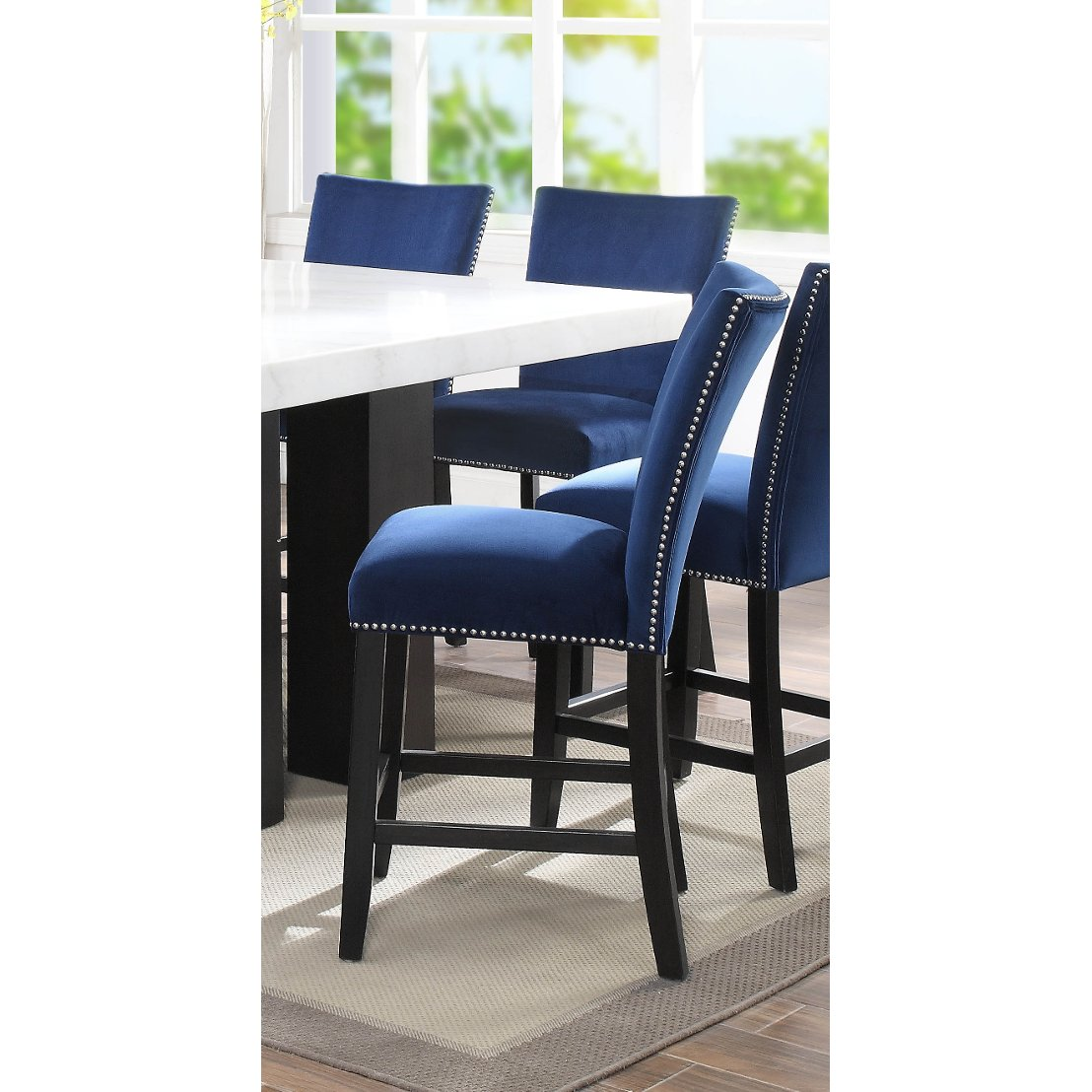 Counter Height Chairs With Arms Blue Velvet Upholstered Counter Height Stool Camila