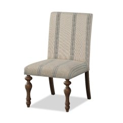 Cream Upholstered Dining Chairs Chair Positions For Extraction Cottage And Blue Striped Laurel Grove