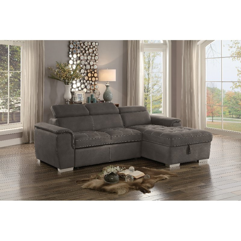 storage sectional sofa bed milano leather next taupe with pullout and right side chaise ferriday rc willey furniture store