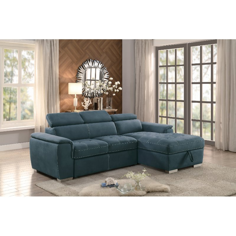 storage sectional sofa bed good product to clean leather blue with pullout and right side chaise ferriday rc willey furniture store