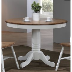 White Round Kitchen Table Touch Faucets Modern Two Tone Brown And Dining Pacifica Rc Willey Furniture Store