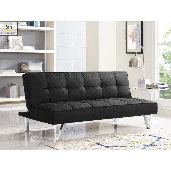 tomas fabric sofa chaise convertible bed dark java round dining table with seating hideabed couches and futon beds rc willey furniture store black serta carly
