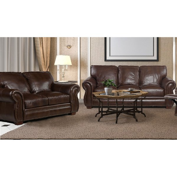 2 piece brown leather sofa patio sectional furniture store couches bedroom sets dining tables more traditional living room set molasses