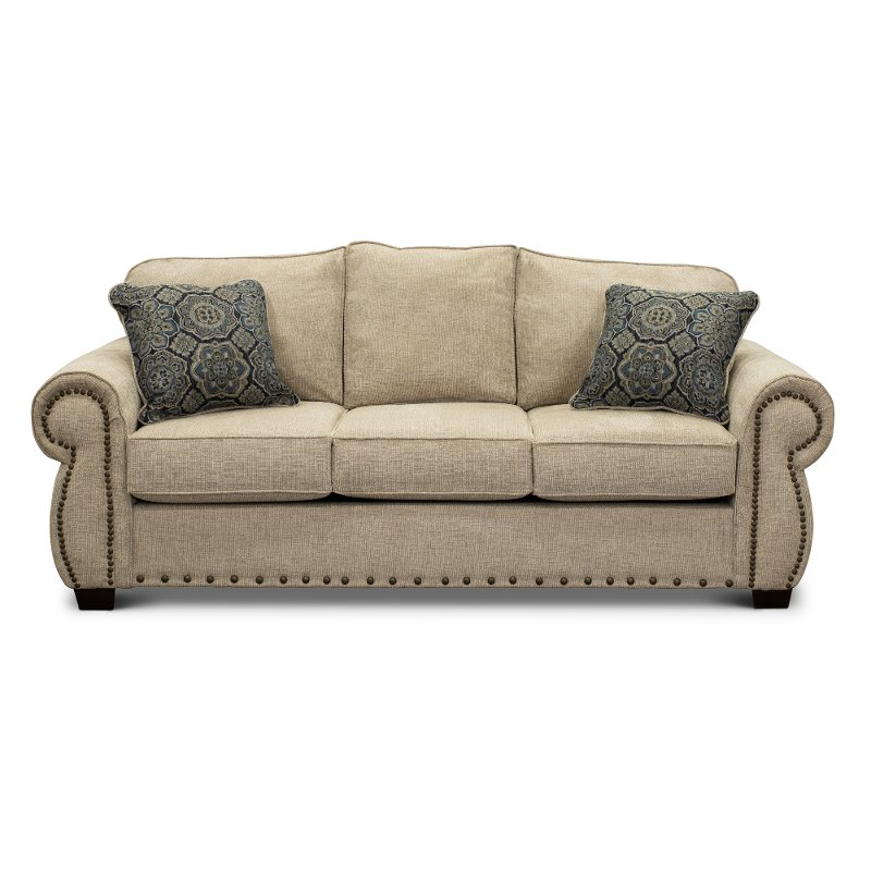Casual Traditional Canvas Tan Sofa  Southport  RC Willey