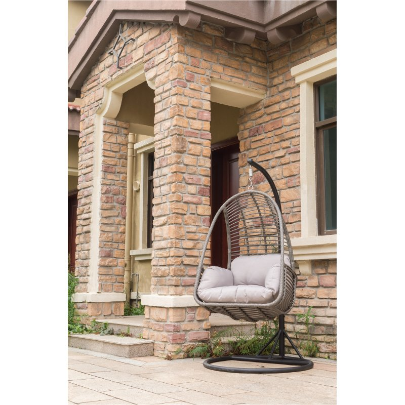 swing chair metal grey parson covers wicker outdoor hanging with cushion rc willey