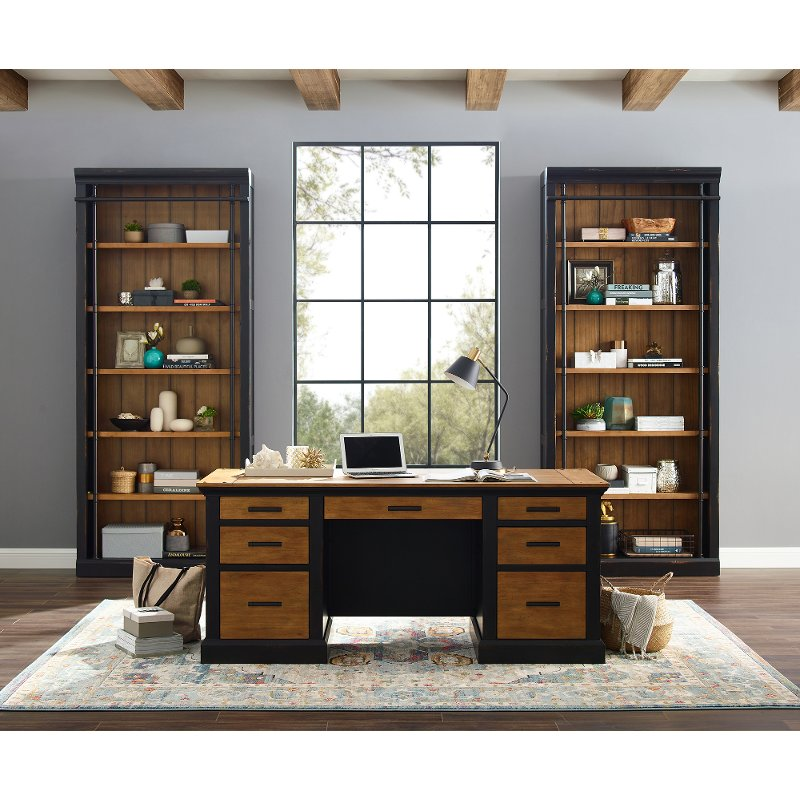 Brown And Black Home Office Desk Toulouse Rc Willey Furniture Store