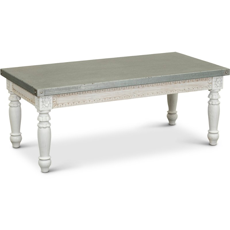 traditional coffee table with metal top tatum rc willey furniture store