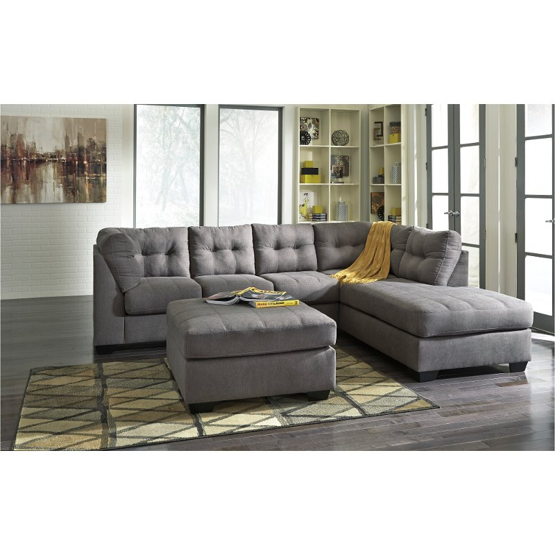 gray 2 piece sectional sofa with raf chaise maier rc willey furniture store
