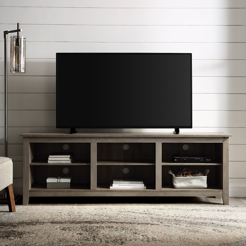 70 Inch Rustic Wood Tv Stand Grey Wash Rc Willey Furniture Store