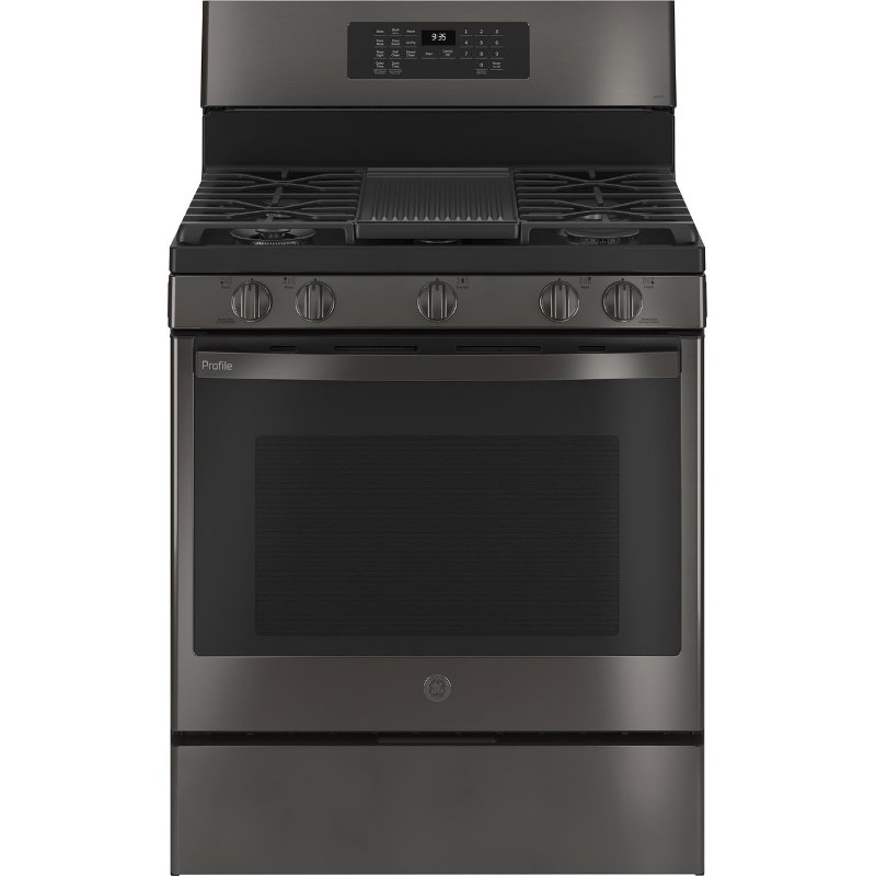 ge profile 30 inch smart gas range with convection 5 3 cu ft black stainless steel rc willey furniture store