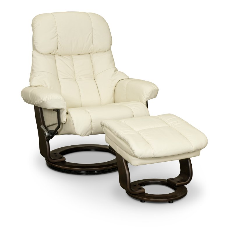 snow white leather recliner with storage ottoman zen rc willey furniture store