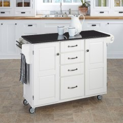 Granite Top Kitchen Cart Industrial Cabinets White Finish Black Create A Rc