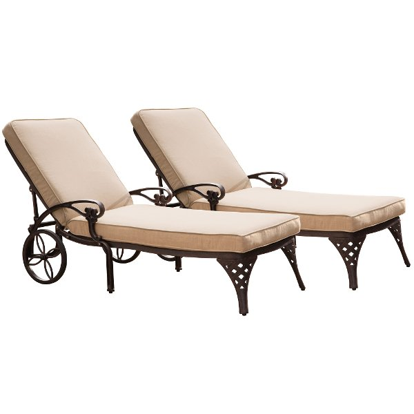 cheap outdoor lounge chairs used leather club for sale rc willey sells chaise lounges your patio or pool two bronze with cushions biscayne