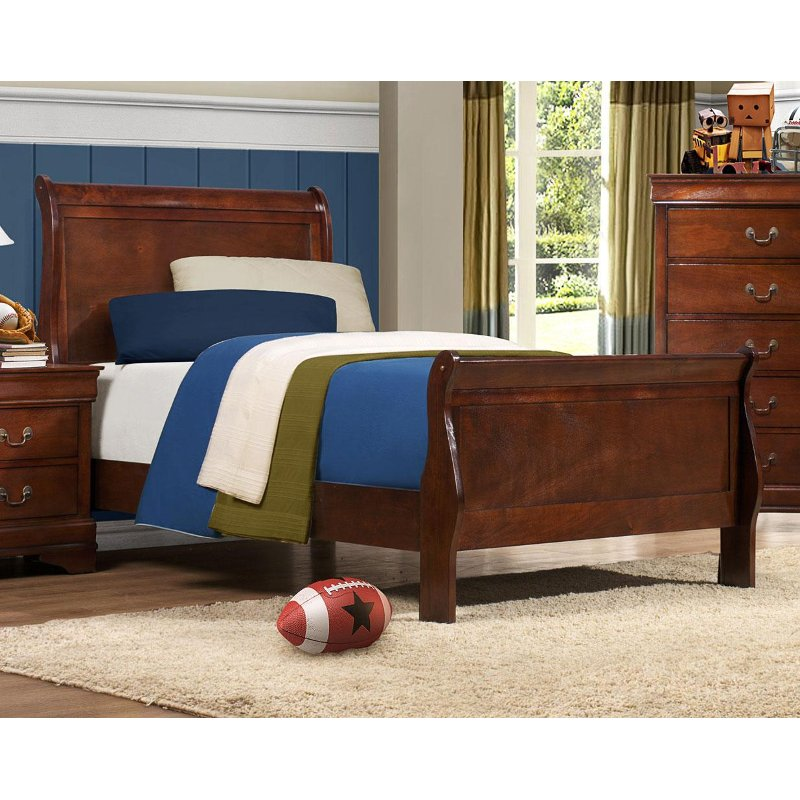 Brown Cherry Traditional Twin Sleigh Bed Mayville RC Willey Furniture Store