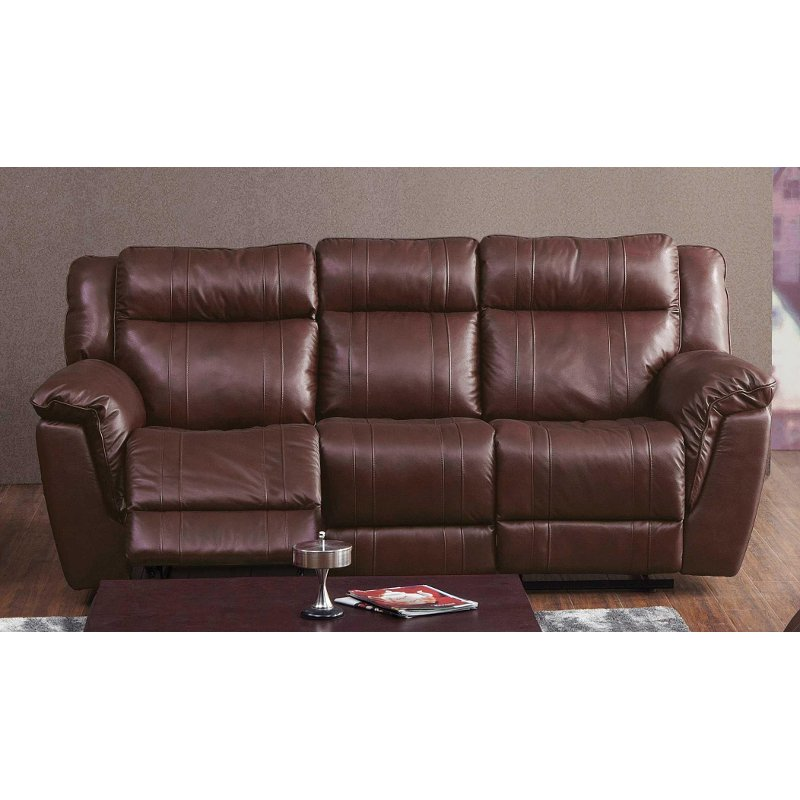 reclining sofa leather brown cheap sofas uk match manual k motion rc willey furniture store