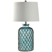 Blue Seeded Glass Table Lamp with Netting | RC Willey ...