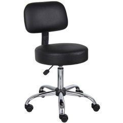 Drafting Office Chair Metal Leather Black With Back Rc Willey Furniture Store