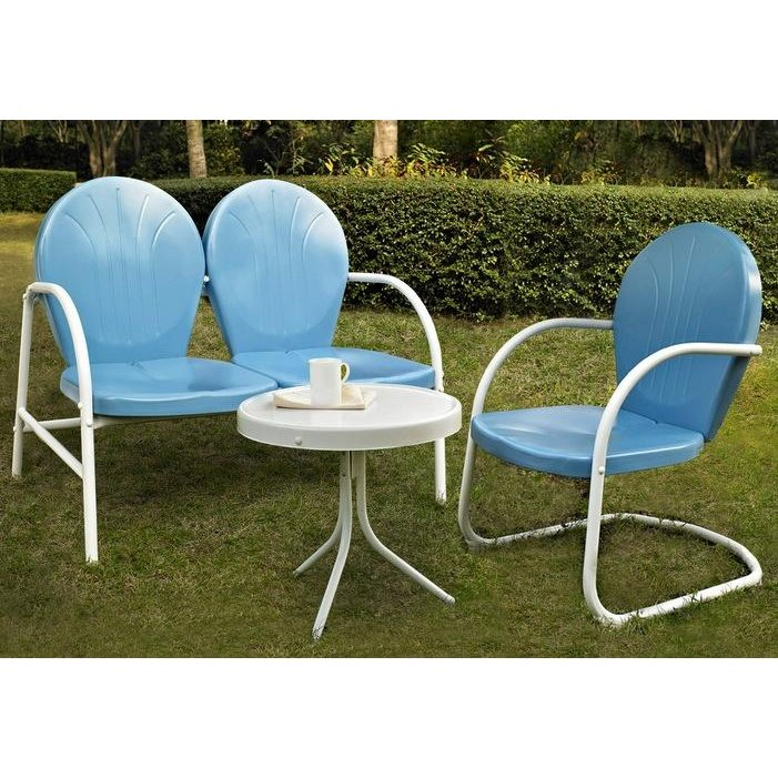 Sky Blue 3 Piece Metal Outdoor Patio Furniture Set Griffith Rc Willey Furniture Store