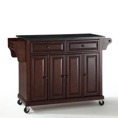 Granite Top Kitchen Cart Cabinets Overstock Mahogany With Black Rc Willey Furniture Store
