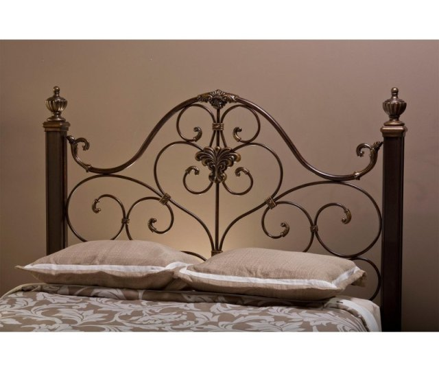 Antique Gold Queen Metal Headboard Mikelson Rc Willey Furniture Store