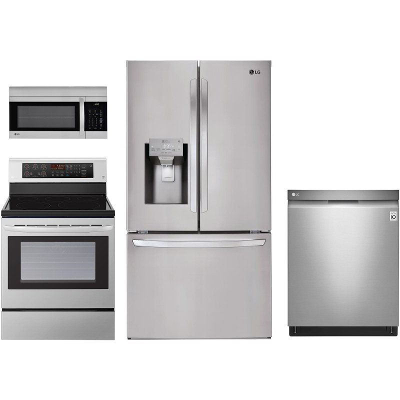 LG 4 Piece Electric Kitchen Appliance Package Stainless Steel RC Willey Furniture Store