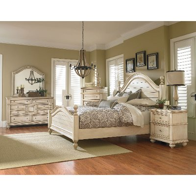 antique white 6-piece king bedroom set - heritage | rc willey
